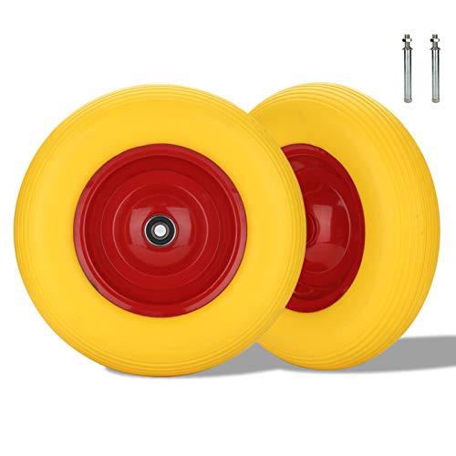Karpal Schubkarrenrad 4.80/4.00-8 PU, Sackkarrenrad pannensichere Vollgummireifen, Ø 390 95mm Breite, bis 200 kg, Gelb Ersatzrad, mit Achse, für Go-Carts, Gartenkarren 2er Set
