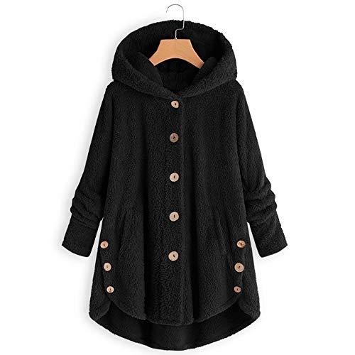 Toimothcn Women Plus Size Button Plush Tops Hooded Loose Cardigan Wool Coat Winter Over Size Jacket Black