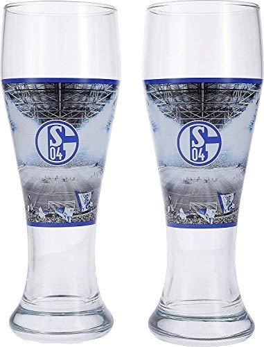 FC Schalke 04 Weizenglas 2er Set, Glas, Bierglas, Weißbierglas S04 - Plus Lesezeichen I Love Gelsenkirchen