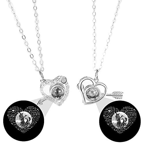 Collar de proyección de 100 collares de idioma TE AMO Collar de memoria Colgante de corazón Collar de foto personalizado(Plata Blanco y negro 18)