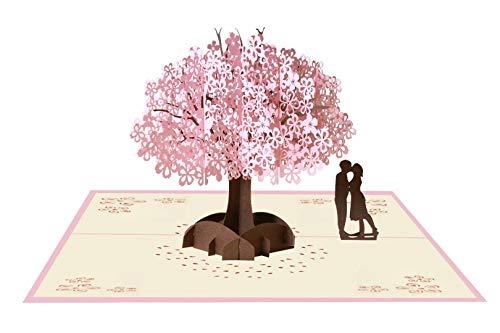 EDATOFLY Biglietto Auguri Matrimonio Pop Up 3D,Carta per Matrimonio Anniversario Carta per San Valentino con Busta per Moglie Marito Fidanzata Sposa e Madre (Ciliegio con coppia)