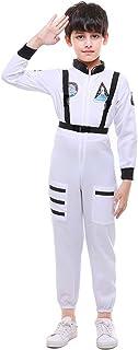 MOMBEBE COSLAND Jungen Astronaut Kostüm Raumfahrer Overall mit Riemen Karneval Weiß, S