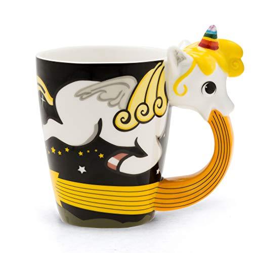 el & groove Taza Unicornio Grande Colorido en 3D | Taza de café 350ml (400ml Lleno hasta el Borde) | Taza de té de Porcelana Unicornio en diseño de Cielo Negro | Comic | Idea para Regalo