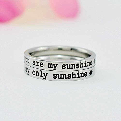 you are my sunshine my only sunshine - Stainless Steel Stackable Ring Set of 2, Mom Daughter Sisters Kids Family Love, Gift for Mother's Day, Valentines, Birthday, Christmas, Best Friends BFF, V1