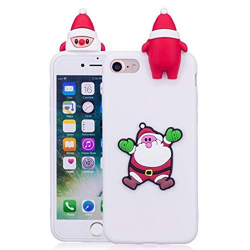 HengJun Für iPhone 7 / iPhone 8 Weihnachtsserien-Kasten, 3D kreative Art- und Weisekühle Karikatur-Nette stoßsichere Gummiabdeckung für iPhone 7 / iPhone 8 - B weiß