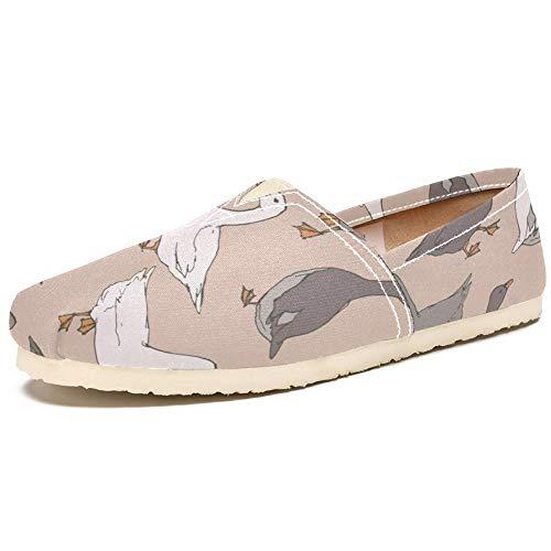 TIZORAX Zapatos de mocasín para mujer gris y blanco gansos cómodos Casual Lona Plana Barco Zapato, color Multicolor, talla 41.5 EU
