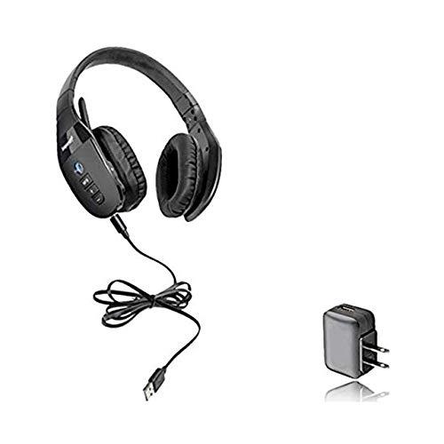 VXI BlueParrott S450-XT Bluetooth/NFC Stereo Mic Headphones Bundle - Bonus Wall Charger | Compatible for Streaming Music, MAC, Windows, Android Phone, Tablet, iOS iPhone, iPad, BlackBerry | 203582-B