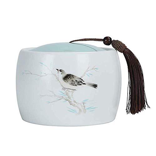 MY1MEY Caja de Almacenamiento de Cenizas para Mascotas, urnas de cremación de cerámica para Cenizas, urna funeraria Conmemorativa de Humanos y Mascotas, urna de Recuerdo, patrón de pájaro, Dos