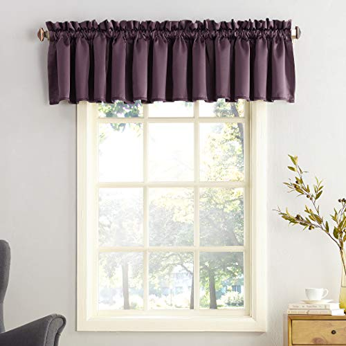 "Sun Zero Barrow Energy Efficient Rod Pocket Curtain Valance, 54"" x 18"" - 1 Panel, Plum Purple"