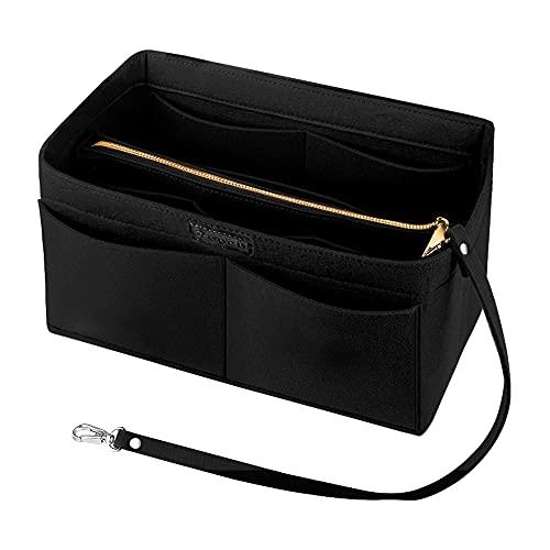 Ropch Handtaschen Organizer für Frauen, Filz Taschen Organisator Tote Organizer Handtaschenordner Bag in Bag Organizer mit Reißverschluss-Tasche, Schwarz - L