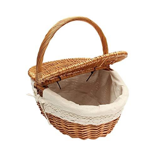Picknick Tassen Natuurlijke Wilg Rieten Ovaal Draagbare Picknick Manden Hamper met Deksel Handvat en Witte Liner Camping Reizen Winkelmandjes Duurzame Picknick Tassen