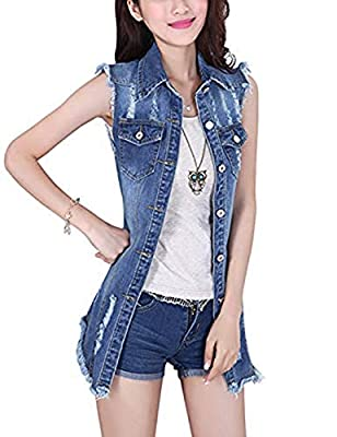 Tanming Women's Sleeveless Button Down Ripped Denim Jean Vest Waistcoat Jacket