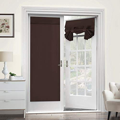 Turquoize Tricia Door Panel Curtains Single French Door Blackout Curtains for Privacy 26W x 68L Blackout Window Treatment Curtains Drapery for French Door - 1 Panel, Brown