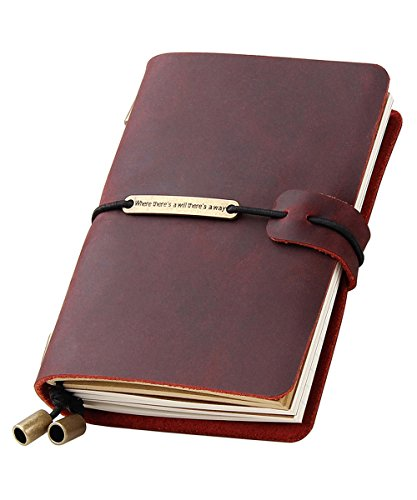 Refillable Handmade Travelers Notebook, Leather Travel Journal Notebook for Men & Women, Perfect for Writing, Gifts, Travelers, 5.2' x 4' Inches - Wine