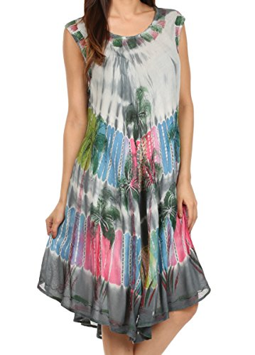 Sakkas 101RC Palme Abbindebatik Kaftan Kleid/Cover Up - Grau - One Size