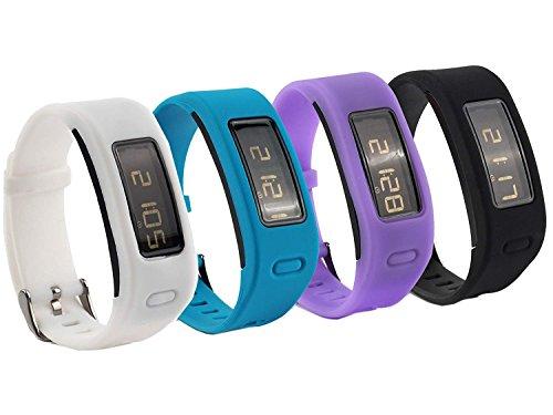 Fit-power - Bracelets de remplacement en silicone pour Garmin Vivofit avec fermoir en métal - Montre connectée non inclus - Seules les bandes de remplacement sont incluses, Pack of 4A