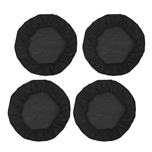 non-brand 4 Pedazos Funda de Asiento para Silla de Comedor de Material Ploiéster Duradero - 4 Piezas, Negro, 35cm