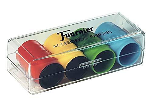 Tiendas LPG Fournier- Accesorios Parchis en Caja de plástico, 4 Jugadores, Multicolor