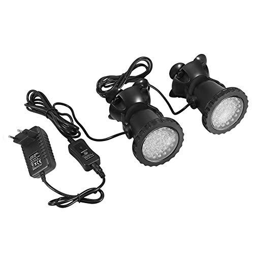 Unterwasserbeleuchtung Unterwasserleuchte Strahler Aquarium Licht Wasserdichtes IP 68 LED Unterwasser Strahler mit Fernbedienung für Wasser Garten Teich Fisch Tank(mit 2 Strahler)