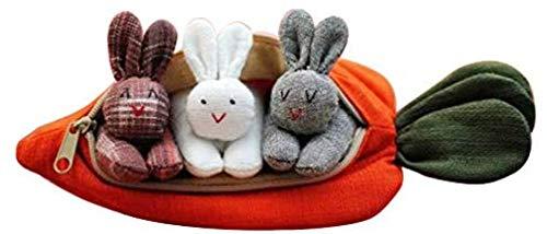 ZYW 3 conejos en el monedero de zanahoria, regalo de Pascua, para niños, decoración de escritorio con conejo dulce