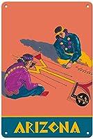 アリゾナインディアンズサンタフェティンサイン装飾ヴィンテージ壁金属プラークレトロアイアン絵画カフェバー映画ギフト結婚式誕生日警告