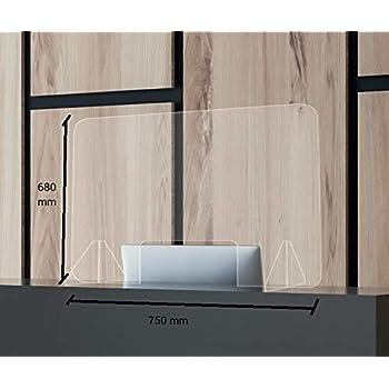 Mampara de Protección Mostrador 750 x 680 mm. Irrompible, lavable, transparente y montaje sin herramientas.: Amazon.es: Bricolaje y herramientas