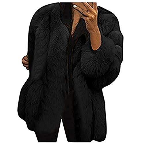 BaZhaHei Giacca Donna,Giacca Donna Pelliccia Ecologica Inverno Moda Caldo Manica Lunga Cappotto Donna Taglie Forti-100% Alta qualità (Black 1, XL)