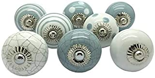 JGARTS Set of 8 Knobs Grey Gray & White Cream Hand Painted Ceramic Knobs Cabinet Drawer Pull Pulls