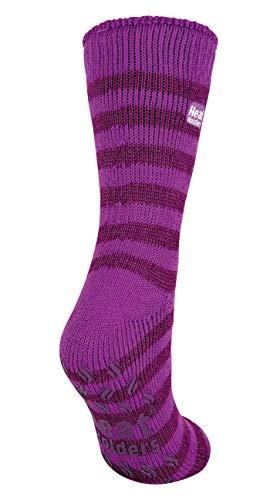 HEAT HOLDERS Damen Thermal Slipper Socken Größe, 7 Farben zur Auswahl, 37-42 eu (Violett Streifen) (Violet Stripe)