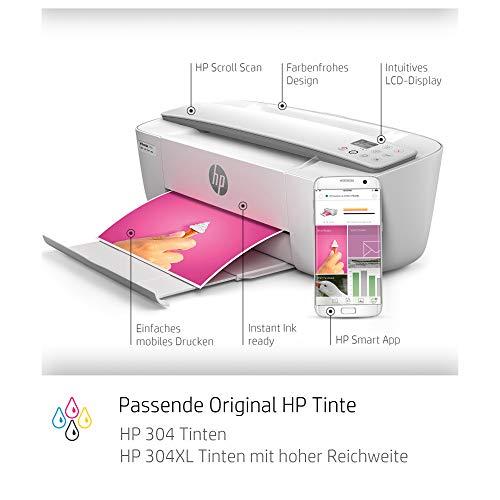 HP DeskJet 3750 Multifunktionsdrucker (Drucken, Scannen, Kopieren, WLAN, Airprint, mit 6 Probemonaten HP Instant Ink Inklusive) grau