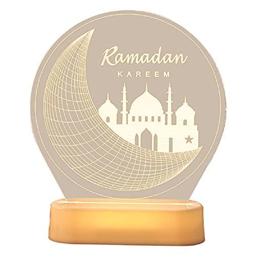 Ramadan Eid Mubarak Ornaments Muslim Ramadan Table Light Crafts Desktop Decoration for Festival Home Party Religious LED Night Light (Moon Castle)