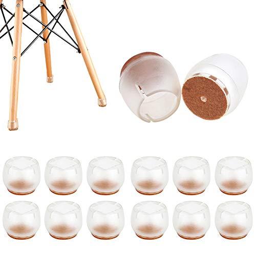 HOTSO 12 Piezas Tapones de Silicona Antideslizante de Mesa, Sillas Protector con Fieltro Pegado Silicona Suelo de Arañazos y Ruidos Transparente (21-25mm)