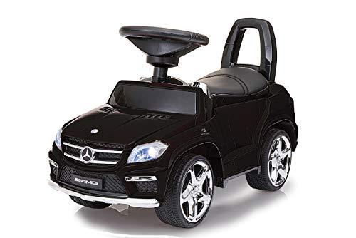 Jamara 460435 Mercedes-AMG GL 63 Slipbescherming, kofferbak onder de zitting, licht voor en achter claxon op het stuur, startknop met motorgeluid, kunstleren zitting, zwart