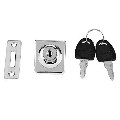Fdit Lega Zinco Singolo Cassetto Porta Lock Scrivania Armadio Mobili Armadio Armadietto Vetrina Proteggere la Privacy e Anti-furto Con 2 Key-2 Pz
