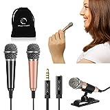 [2PCS] Mini Karaoke Microphone, Wootrip Mini Voice Recording Microphone Portable Karaoke Mic for Singing, Recording, Voice Recording (Black and Gold)