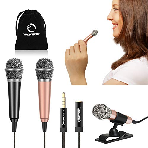 [2PCS] Mini Karaoke Microphone, Wootrip Mini Voice Recording Microphone Portable Karaoke Mic for Singing, Recording, Voice Recording (Black and Gold)