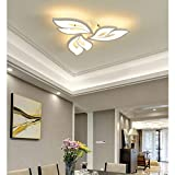 Modern Lámpara de techo LED Salón Cocina Habitación Decor Plafones Regulable Con mando a distancia Diseño de Flores Luz Metal Acrílico Plafon Lámparas para Dormitorio Comedor Baño Iluminación L60cm