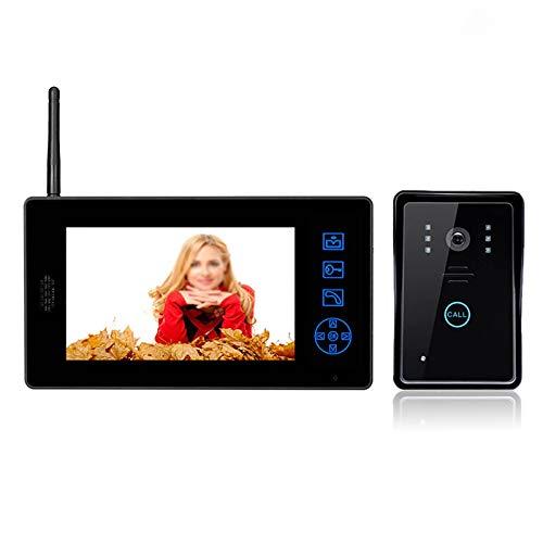 Timbre de Video Video Inalámbrico De Video Inalámbrico De 7 Pulgadas Color Video Video Video Pager para Apartamentos Villas (Color : Black, Size : 23.5x13x2cm)