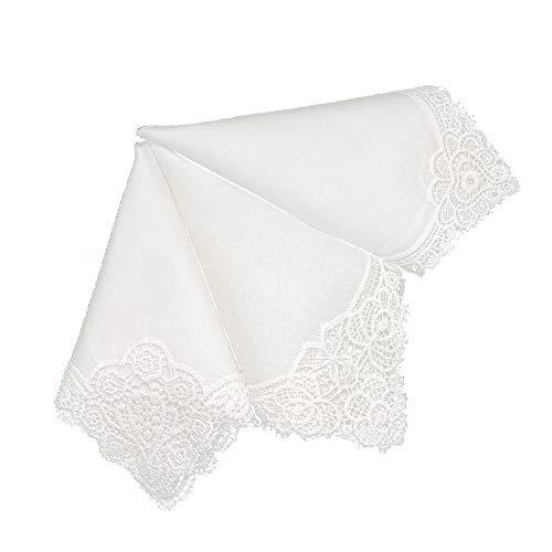 Bumblebee Linens White Wedding Cluny Lace Ladies Woman Cotton Handkerchiefs Hankie Hanky- Set of 3