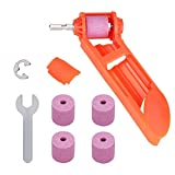 Drill Bit Sharpener Portable Drill Grinder Grinding Tool Diamond Drill Bit Sharpening Tool Drill Polishing Wheel for Iron-based Drill Bit with Extra Corundum Grinding Wheel and Wrench,1pc Orange