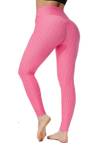 GILLYA Booty Yoga Pants Women High Waisted Ruched Butt Lift Textured Tummy Control Scrunch Leggings Pink, Medium
