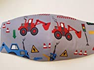 Handmade in the UK 100% Cotton 3 layer Face Mask, washable and reuseable grey colour with red digger...