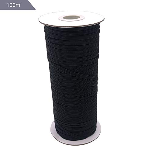 3mm Cuerda Elastica, Cordón Goma Elástico Bandas, para Costura, Tejer, Artes y Manualidades- Negro
