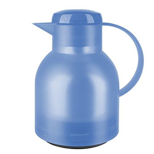 Emsa Samba Isolierkanne 505124 | 1 Liter | Quick Press Verschluss | 100% dicht | 12h heiß, 24h kalt | Eisblau Transluzent