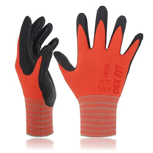 DEX FIT Guantes para Jardinería FN320, Ajuste Cómodo Elástico 3D, Buen Agarre, Recubrimiento de Espuma Duradero de Nitrilo, Táctil, Fino y Ligero, Lavable en la Lavadora Rojo 8 (M) 3 Pares