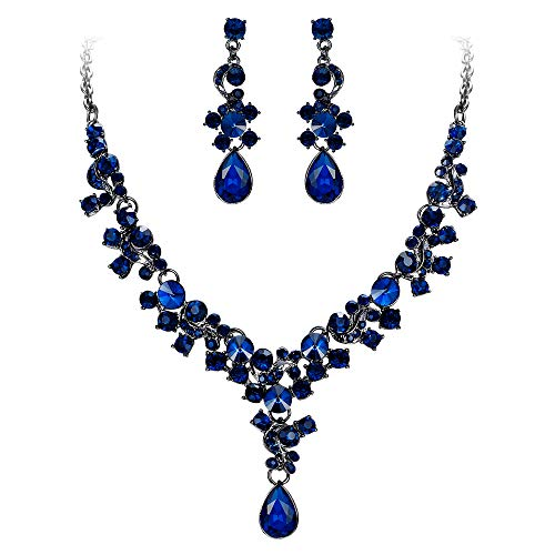 EVER FAITH Rhinestone Crystal Wedding Feast Floral Teardrop Necklace Earrings Set Blue Black-Tone