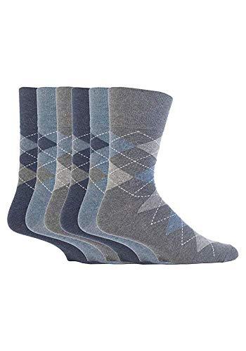 SockShop RJ38 Lot de 6 paires de chaussettes en coton pour homme Motif argyle Bleu denim