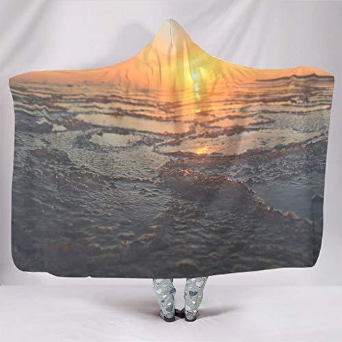 DOGCATPIG Manta estándar de microfibra de gran tamaño con capucha para el mar y el amanecer auténtica manta con capucha para mujeres y hombres blanco 60x80 pulgadas