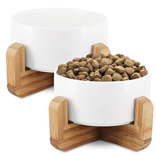KYONANO Comedero para gatos, 2 comederos para gatos y perros con soporte de bambú, 850 ml, comedero elevado, con soporte, juego de comedero para gatos y perros (blanco)