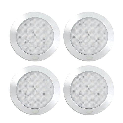 Dream Lighting 12V LED Deckenleuchte Innenbeleuchtung Dimmbar mit Verchromter Oberfläche 76MM Warmweiß 3000K 4 Stücke